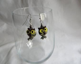 Owl Earrings, earrings, owl, silver ear wires, dangle