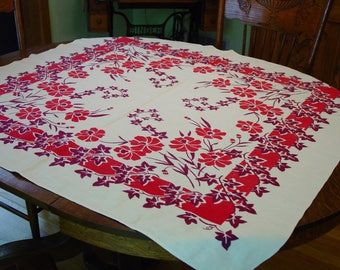 Vintage Tablecloth Charming Red,Maroon Floral 42 1/2 x 46""
