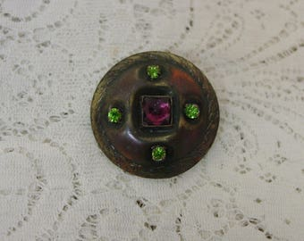 """Antique Gay Nineties Button, Big,Bold,Bejeweled  1 3/8"""" Green and Purple Jewels"""