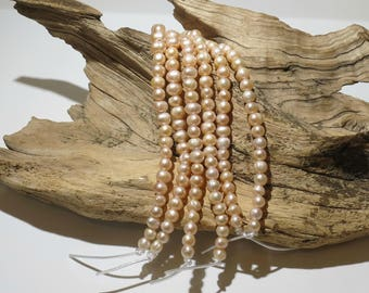 Peach Freshwater Pearls - LARGE HOLE Beads - 7-8mm - 8 Inch Strand - 32-34 Beads - 2mm Hole