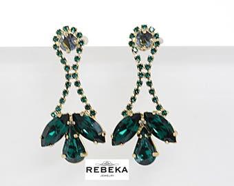 Gold Emerald Cluster Earrings, Rhinestone Swarovski Earrings, Green Crystal Earrings, Long Emerald Dangle Earrings, Gemstone Post Earrings