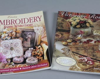 DESTASH BOOKS, Victorian Roses by Jenny Haskins, Machine Embroidery, Romantic Cushions, Christening Robe, Instruction Manual.