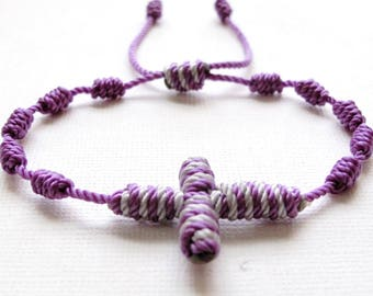 Knotted Rosary Bracelet•Purple-Gray 100% Nylon Cord•Confirmation•First Communion•Friendship Bracelet•Rosary Wrap•KN0015•Our Lady Beads