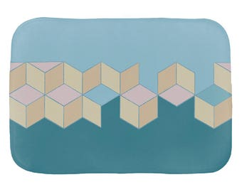 "Rosemont Abstract Geometric Bath Mat, 17x24"" or 21x34"""
