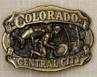Colorado Central City Belt Buckle Gold Horse Gold Mining 1983 Great American Buckle Made in USA Vintage Belt Buckle 7Q