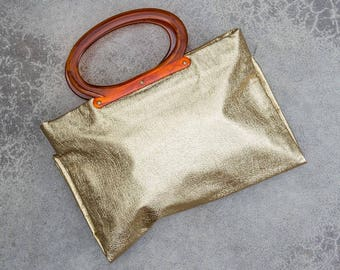 Gold 1960s Bag Shiny Metallic Vintage Tote Handbag Tortoise Style Handles 7VV