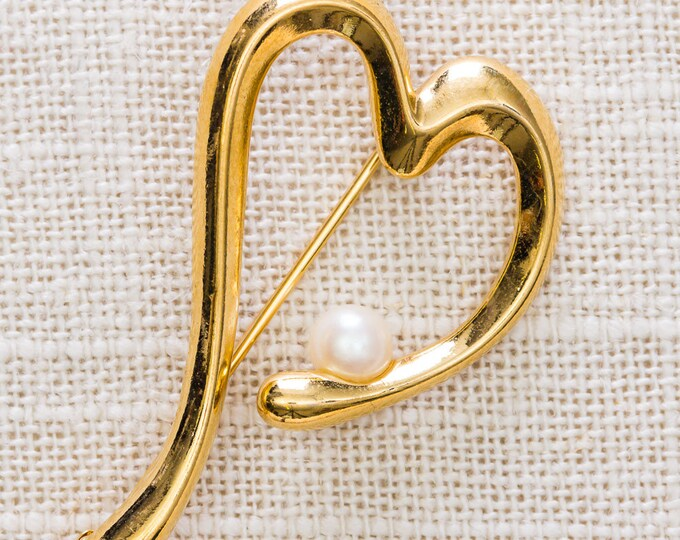 Gold Heart Brooch Vintage Pearl Abstract Broach Vtg Pin 7JJ