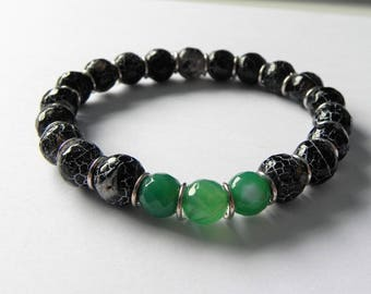 Black and green agate mens stretch gemstone bracelet