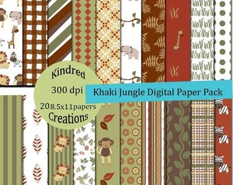Khaki Jungle Digital Paper Pack 300 dpi 8.5x11 20 papers For Personal or Commercial Use