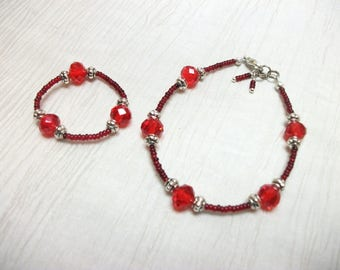 "Child bracelet Swarovski and seed bead doll bracelet for 18"" doll Made To Order"