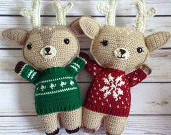 Reindeer Ragdoll, Stuffed Toy, Christmas Doll, Crochet Ragdoll, Soft Doll, Doe Doll, Buck Doll, Baby First Christmas, Christmas Sweater