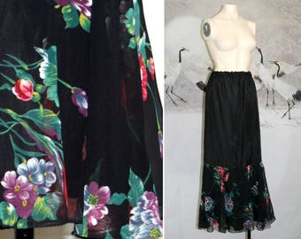 Floral Print Black Satin Vtg Long Maxi Slip Skirt / Size 9/10