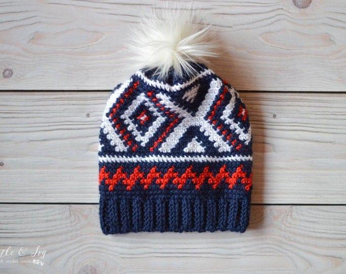 Crochet Neva Hat (Team USA Olympics Hat) PDF DOWNLOAD