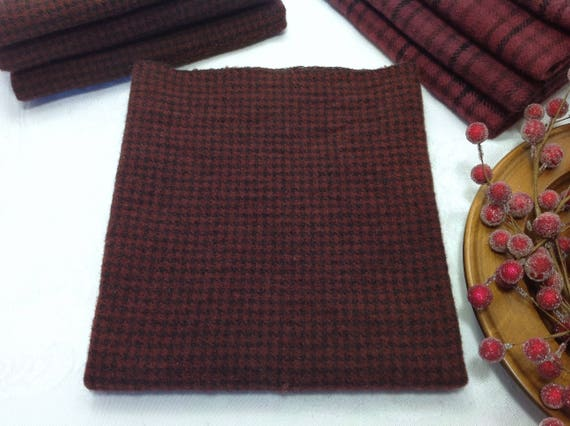 Burgundy Check, Fat 1/4 yd, Hand Dyed Wool Fabric for Rug Hooking and Applique, W406, Holiday Red, Burgundy, Wine, Cabernet, Plum