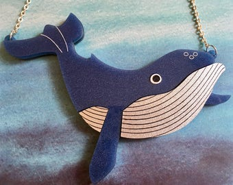Laser Cut Whale Necklace Humpback Whale Glittery Ocean Large Statement Acrylic Necklace