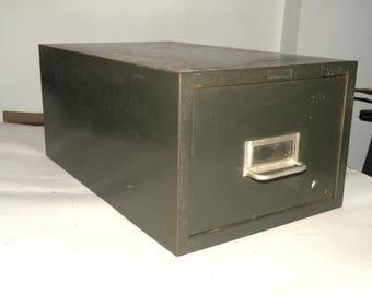 Metal Storage Case Industrial Man Cave Decor Tool Box Ammo Box Storage Box Drawer Industrial Display Made in America Vintage Photo Holder