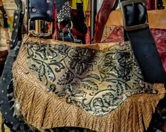 Biker Cowgirl Leather  Bohemian Bag Hippie Sac Textures Outside pockets Fringe Hair On Acid Wash Adjustable shoulder strap