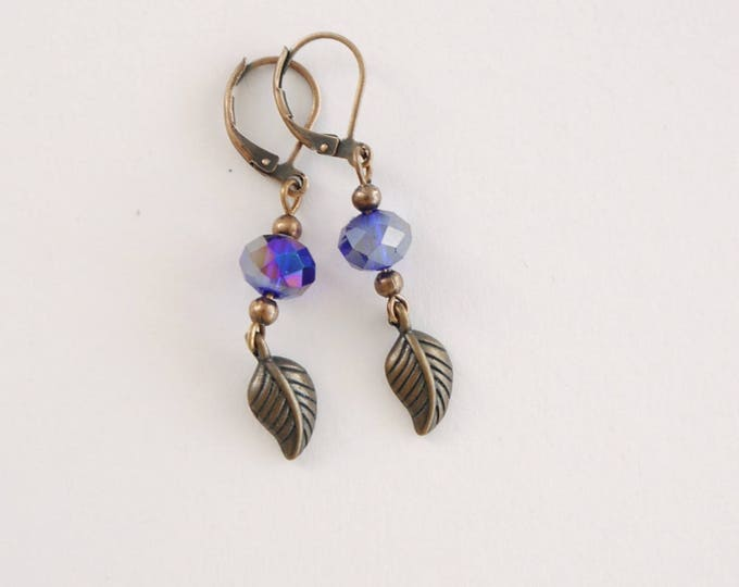Antique copper dangle earrings with leaf detail and royal blue czech glass beads, romantic, vintage style, retro, boho, sweet, darling