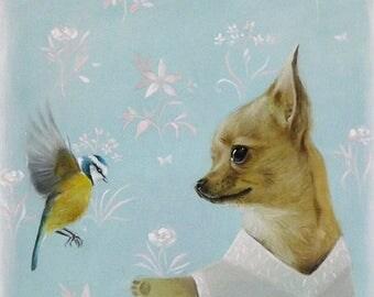 On Sale Chihuahua and spring bird Chihuahua print Chihuahua illustration Chihuahua picture chiwawa print dog print dog lover wall art decor