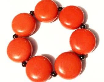 Bracelet Dark Coral Retro Vintage Jewelry Jewellery Accessory Kitsch Chunky Bead Stretch Gift Guide Women