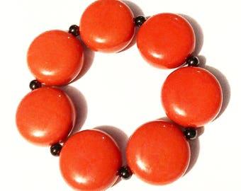 Bracelet Dark Coral Retro Vintage Jewelry Jewellery Accessory Kitsch Chunky Bead Stretch Gift Guide Women