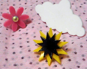 Colorful Pink Flower Ring / Fluffy Cloud Ring / Starburst Rings -- Adjustable & Sturdy Silver Rings