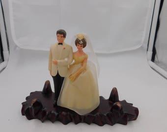 Vintage 1950s 60s Wilton Brunette Bride and Groom Wedding Cake Topper