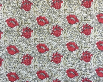 Morris Medley, F0307-02, Floral, Red, Maroon, Tan, Traditional