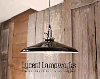 Pendant Fixture - Black Taper Shade - 14 Inch