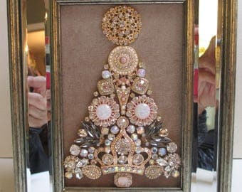 Jeweled Framed Jewelry Christmas Tree Champagne Beige Gold Mirrored Frame