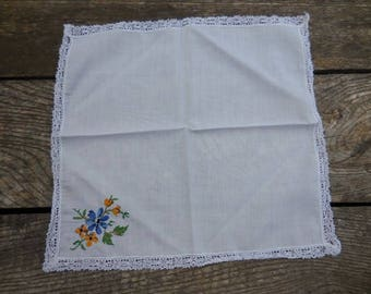 Vintage 1950s to 1960s White Handkerchief with Embroidered Blue/Yellow Flowers Green Leaves Lace Edging Retro Accessory Reuse