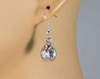 Ladybug earrings, surgical steel earwires, nature inspired earrings, gift for her.