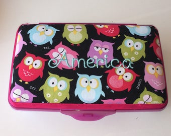 Personalized Kids School Pencil Box Case Colorful Owls