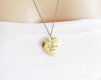 Heart Locket Necklace, Best Friend Necklace, Romantic, Nostalgia, Locket Jewelry, Couple Necklace, Bridesmaid, Swarovski Crystal, Keepsake