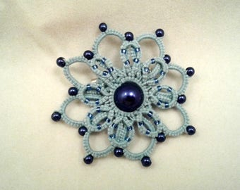 Light blue tatted and beaded flower pin brooch