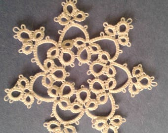 Tatted lace snowflake white ornament
