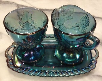 Iridescent Blue Carnival Glass Creamer Set with Tray, Harvest Grape Pattern, Indiana Glass