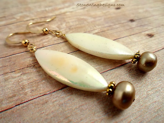 White Mother of Pearl and Freshwater Pearl Earrings