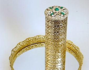 Vintage Vanity Accessory, Jeweled Hairspray Cover, Hair Spray Holder, Gold Glam Decor