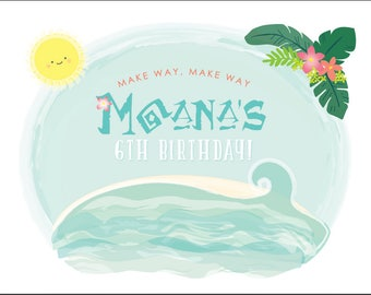 Tropical Ocean Dreams Party Backdrop - Moana Inspired custom PRINTABLE DOWNLOAD 4 ft Party Backdrop .pdf  file