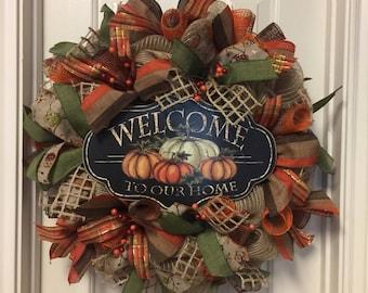 Pumpkin Burlap Wreath Fall Pumpkin Wreath Deco Mesh Welcome To Our House Front Door Decor