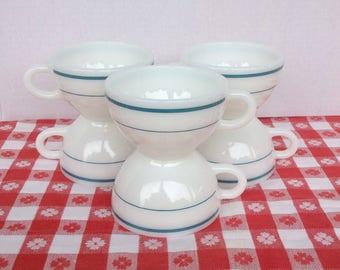 Vintage 50s 60s Corning Dinner Ware /  Milkglass Turquoise Aqua Stripe /  Coffee Tea Cup Set / Farmhouse Kitchen