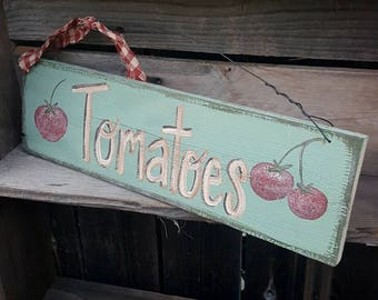 Vegetable garden sign,tomato sign,rustic home decor,garden decor,primitive wall decor, vegetables,rustic wood sign,red,country garden sign