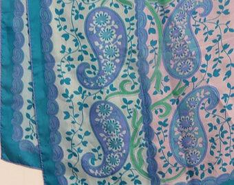 "Long 1960 hippy print Vintage Silk Scarf    17"" X 46""  #080"