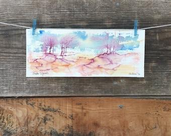 Smoke Signals - Original Watercolor - 3.9in x 9.8in