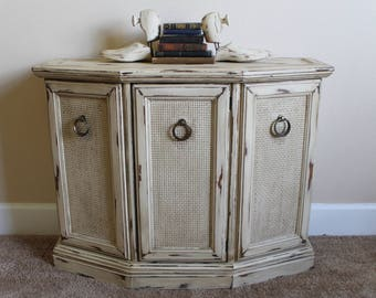 Vintage Antiqued Storage Table Distressed Rustic Table Storage Cabinet