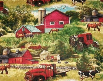 Quilting Fabric, By The Yard, Country Fabric, David Textiles, Sewing Crafting Fabric, Novelty Fabric, Farm Fabric, Red Trucks, Red Barn
