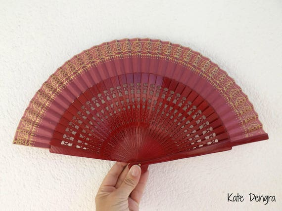 Gold Embroidery Look Algerian Style Hand Fan