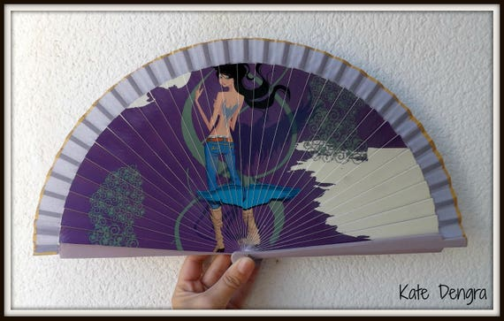 Purple Hand Fan with Lady Design Spanish Hand Fan Limited Edition