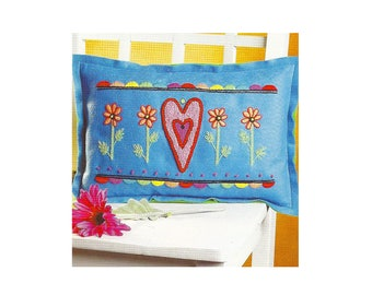 Embroidery Kit Hearts and Flowers Pillow by Janlynn, Pillow Embroidery Kit